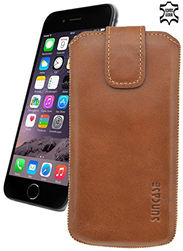 "iPhone 7 Plus (5.5"") Original Suncase® Ledertasche Tasche Case Schutzhülle Hülle (mit ZUSÄTZLICHER Transparent Hülle + 9H Panzerglas) in rustik-mocca braun rustik-cognac"