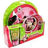 Set de vajilla para niños, Minnie, Melamina, Conjunto de 3 piezas