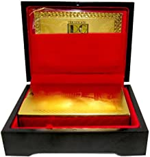 GoldGiftIdeas 24K Gold Plated Playing Cards with Purity Certificate and Attractive Box