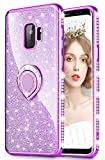 wlooo Hülle kompatibel mit Galaxy S9 Glitzer, Kristall Bling Handyhülle Glitter Luxus Strass Funkeln Rhinestone mit Ring Ständer Halter Diamant Schutzhülle Weich Silikon TPU Bumper Cover Case