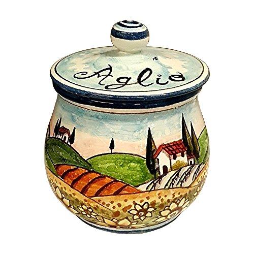 CERAMICHE D'ARTE PARRINI- Ceramica italiana artistica , barattolo aglio decorazione