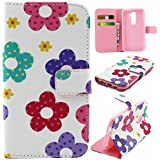 Matek® LG G2 cuero Funda (Flower) patrón moda Impresión Monedero Funda con Tarjetas Slots Imán del tirón Párese Estuche de cuero
