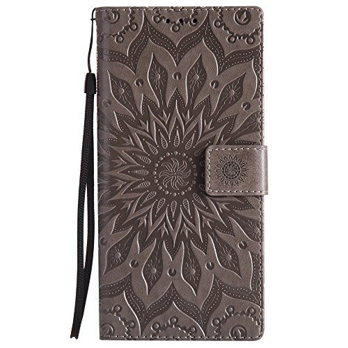 Embossing Sonnenblumenmuster horizontale Flip Stand Case Wallet Pouch Cover mit Lanyard für Sony Xperia XA1 ( Color : Gray ) Gray
