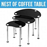 UEnjoy Nest of Tables Black Glass Side Table Chrome Legs Living Room