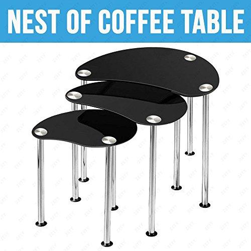 Best Price UEnjoy Nest Tables Set Of 3 Black Glass Side