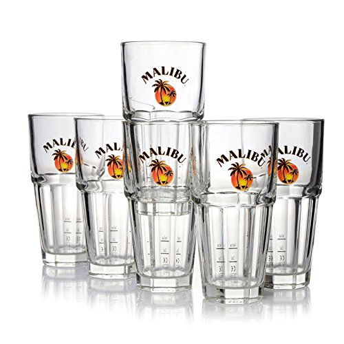 6 x Malibu Glas / Gläser 360ml Longdrink Cocktail Gastro Bar Deko ~mn 16 1223