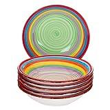 MamboCat 6-TLG. Teller-Set Ibiza | Suppenteller tief | 700 ml | Ø 21.5 cm | Salatteller | Servier-Schale | Porzellan-Teller | kunterbunte Regenbogen-Farben