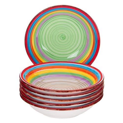 er-Set Ibiza | Suppenteller tief | 700 ml | Ø 21.5 cm | Salatteller | Servier-Schale | Porzellan-Teller | kunterbunte Regenbogen-Farben ()