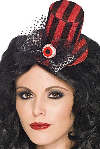 Smiffy's 24954 - Mini Top Hat auf Haarspange mit einem Eye Ball, rot/schwarz
