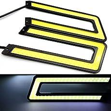 EASY4BUY Waterproof U Shape COB LED DRL Car Parking Daytime Running Light