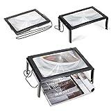 3X Großes Rechteckiges Leselupe mit Led Licht - 290 x 205 mm (A4-format) - Unverzerrte Lupe mit Beleuchtung geeignet für Senioren, zum lesen von Büchern, Magazinen, Zeitungen und Landkarten