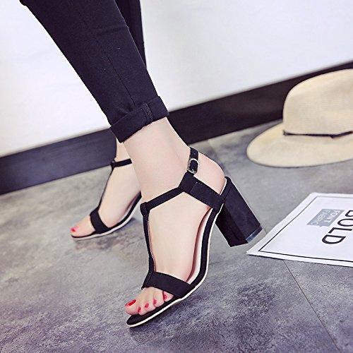 XY&GK Donna Sandali estivi furetto femmina con spessi High-Heeled sandali Toeless coreano scarpe moda All-Match scarpe alla moda Black