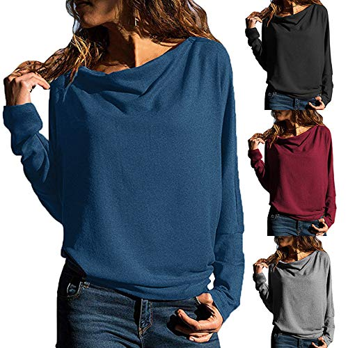 Sale,SANFASHION Damen Pulli Casual Hoher Kragen Langarm Pullover Slim Fit Sweatshirts Loose Feste Tops Oberteil