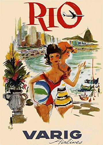 brasil-rio-with-varig-1950-reproduccin-sobre-calidad-200gsm-de-espesor-en-cartel-a3-tarjeta-brillant