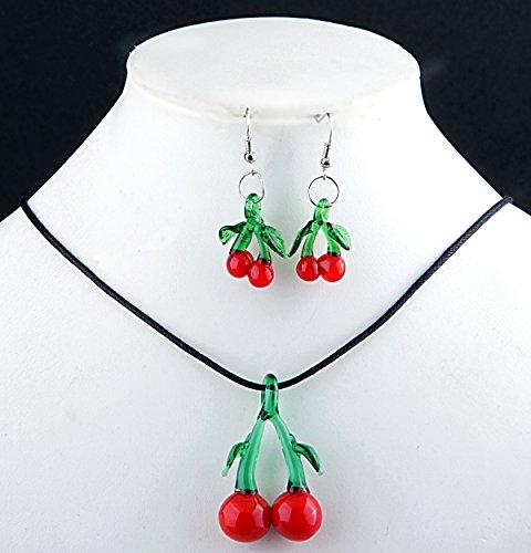 Ecloud Shop Rote und grüne Kirsch-förmige schöne Glas Halskette Ohrringe gesetzt