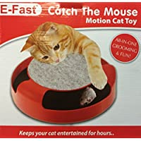 eFast Meow Cat Kitten Catch The Mouse Moving Play Toy Interactive Plush Scratching Claw Mat (RED)