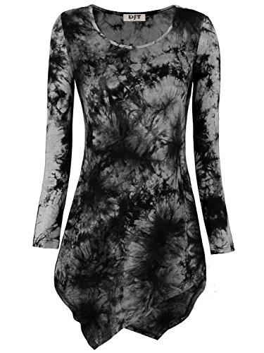 DJT Femmes T-shirt Manches longues Tunique Hauts Tie-dye Noir-Gris L
