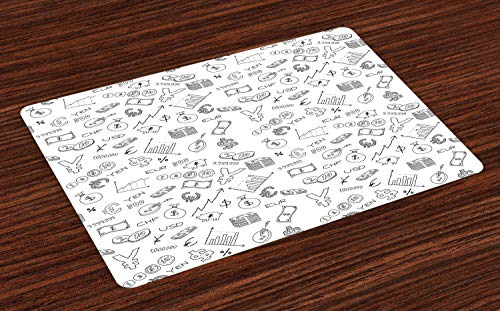 ABAKUHAUS Geld Platzmatten, Einfarbiges Muster mit Eurodollar-Yen-Symbol-Münzen-Sparschwein-Lager-Diagramm-Gekritzel, Tiscjdeco aus Farbfesten Stoff für das Esszimmer und Küch, Weiß Schwarz