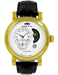 Lindberg & Sons Reloj automático para hombre con correa de piel color negro y de color blanco esfera analógica pantalla hq22239wg