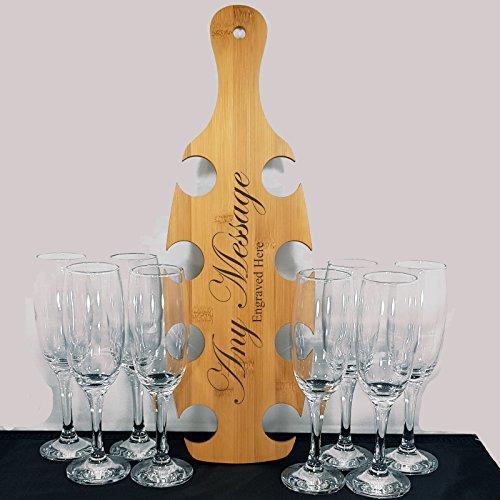 Gravur personalisierbar Event Paddel mit 8Gravur Champagner Flöte Gläser Hochzeit Geburtstag Geschenk