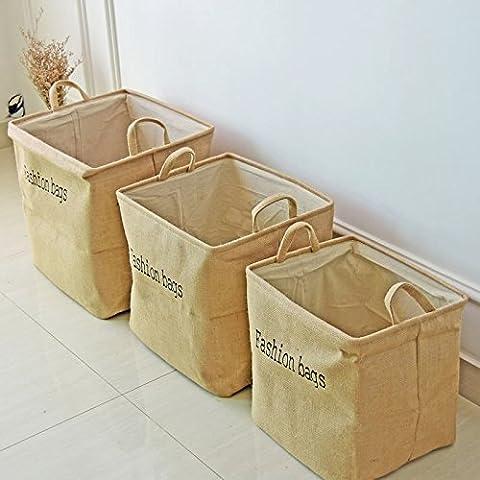 K&C Cotton Blend Linen rides réservoir de stockage Bin Bin Bin pliable Nursery (Bambini Bin Organizer)