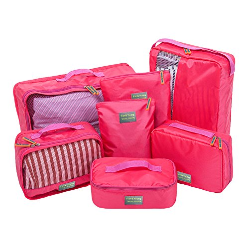 Joyoldelf Travel Essential Bolsas-en-Bolsa, Bolsa de almacenamiento de viaje Organizadores Juego de 7 (rosa)