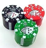 Maxfashion (TM) Casino Grinder 3-teiliger Poker-Chips Grinder aus Metall (Gelegentliche Farbe gesendet)