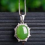 SanQ-Seven Colgante de Jade Natural Femenino en Plata de Ley 925 con Collar...