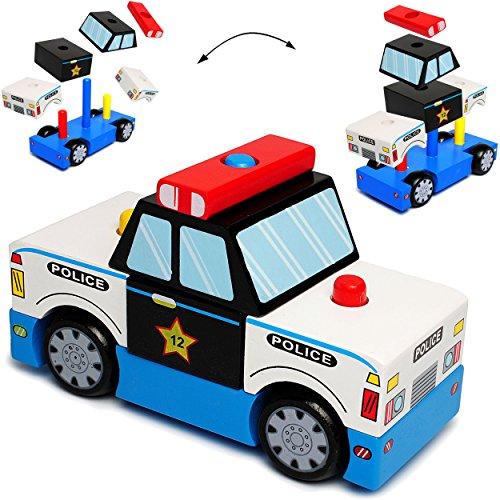 3-D Puzzle - Holz Bausteine & Klötze -  Polizei Auto / Fahrzeug  - Steckspiel - Stapelturm / Spiel zum Stapeln & Motorik üben - Motorikspielzeug - Holzpuzzl..