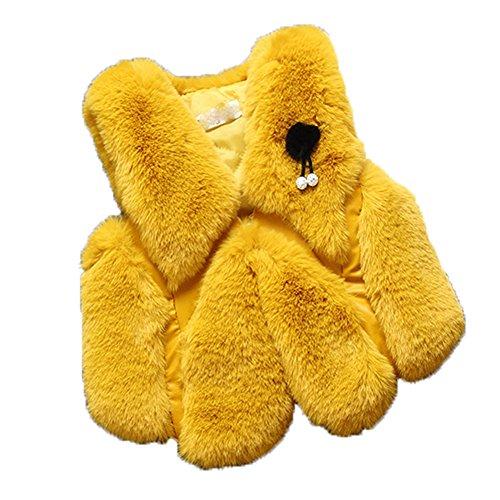 Lange Ärmel, Horizontale Streifen (FOLOBE Kinder Herbst und Winter Faux Fell Vests Kids New Pelz Imitation Fox Haar Gilets Mäntel für Mädchen und jungen)