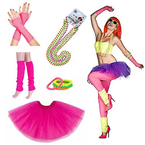 iLoveCos 80er Party Kleid Zubehör Kunststoff Neon Erwachsener Tutu Beinwärmer Fishnet Pink Handschuhe Neon Mehrfarbig Perlenkette Perlen Halsketten und Armbänder 1980s Fancy Dress für Mädchen Frauen Night Out Party