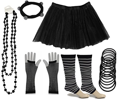 Tutu Skirt Set -Black, White or Neon. Low Cost and ideal for hen nights, fun runs, 80s dress-up.