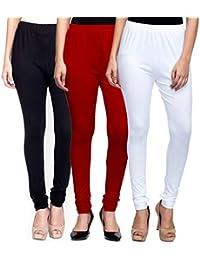 Mek-Orange Women Cotton Churidar Legging - Pack Of 3