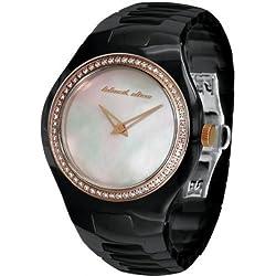 Black Dice 'Showgirl' Ladies Swarovski Crystal Set Ceramic Watch