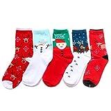 TININNA Medias calcetines, 5 pares mujeres / Navidad Novedad calcetines de Santa Claus muñeco de nieve de los ciervos patrón aleatorio