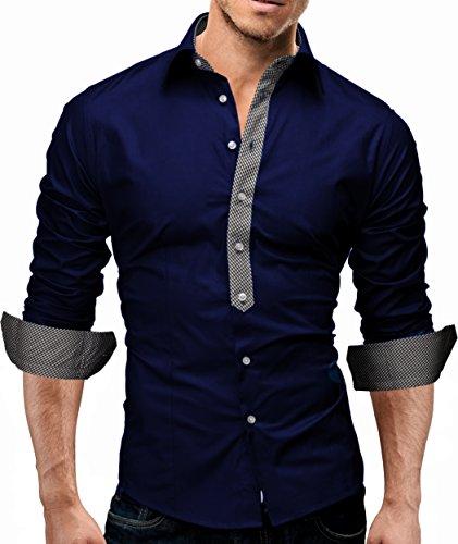 MERISH Hemd Slim Fit Karokontrast 5 Farben Größen S-XXL 11 Blau