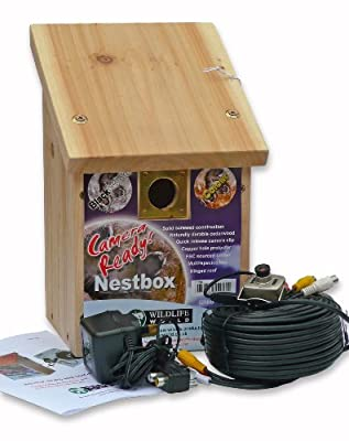 Cedar Bird Nest Box & Bird Nest Box Colour Camera with Audio