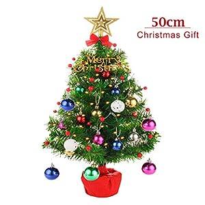 CORST Mini Weihnachtsbaum Künstlich 50cm Tabletop Weihnachtsbaum Desktop Weihnachtsbaum Batteriebetrieben Beleuchtung für Weihnachten, Haus, Küche, Esstisch Dekor (einschließlich Ornamente)