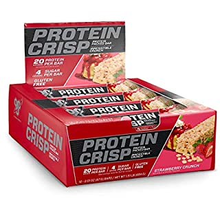 BSN Protein Crisp Bar by Syntha-6, Low Sugar Whey Protein Bar, 20g of Protein, New Flavor-Strawberry Crunch, 12 Count