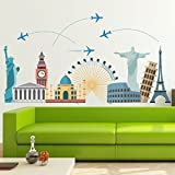 StickMe 'Worlds Wonders - Travel Wall Sticker'- SM 074 ( PVC Vinyl - 100cm X 60 Cm )