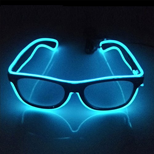 Tiaobug EL Draht Neon Wire Leuchtbrille LED Partybrille Sonnenbrille für Weihnacht, Party, Halloween, Nachtclub, Bar Disko, Konzert Rave Kostüm Blau One Size