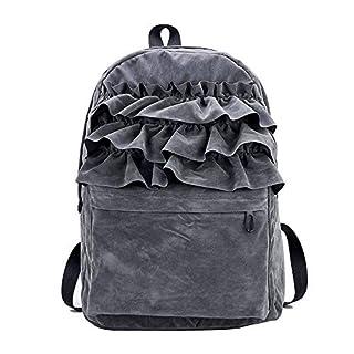 Arpoador gemusterten Spitze Samt Rucksack College Schule Rucksack Reisen Schulter Taschen zum Frauen Mädchen (grau)