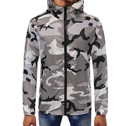 fb2171c9478c SHINEHUA Herren Trendiges T-Shirt Sweatshirt, Herren Camouflage Zipper  Pullover Lange Ärmel Kapuzenpulli Tops Bluse Herren-Hemd Mode Herbst  Langärmelig ...