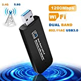 Tokenhigh USB WiFi Adaptateur, Clé WiFi Dongle AC Double Bande, 1200Mbps USB3.0 Mini...