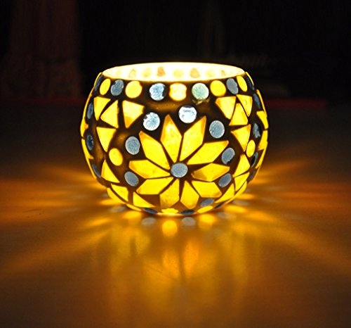 Lalhaveli Decorative Handmade Teal Light Votive Candle Holder 8 Cm