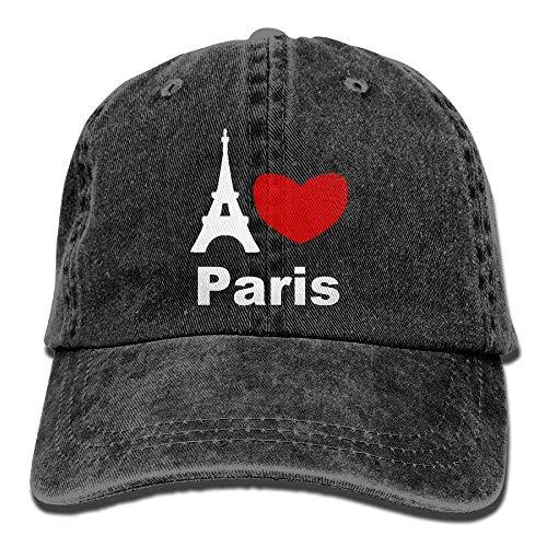 (Miedhki Unisex I Love Paris Yarn-Dyed Denim Baseball Cap Adjustable Glacier Cap Multicolor58)