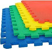 eHomeKart EVA Kid's Interlocking Play Mat -12 mm Thickness -Set of 8 Tiles -60 x 60 cm Each Tile -32 Squar