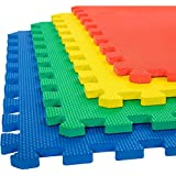 eHomeKart EVA Kid's Interlocking Play Mat -12 mm Thickness -Set of 8 Tiles -60 x 60 cm Each Tile -32 Square Feet Total Area (Multicolour)