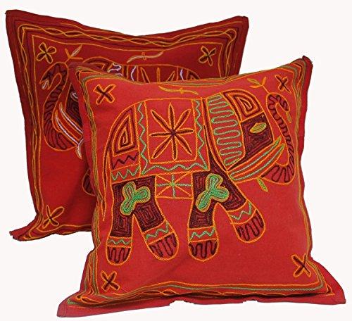 NANDNANDINI TEXTILE - 2 hindú hecha a mano el elefante indio hindú lanza las cubiertas del amortiguador Toss las cubiertas del cojín