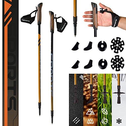 Msports Nordic Walking Stöcke Carbon Premium - aus hochwertigem Carbon - Superleicht - individuell einstellbar - auswählbar mit Tragetasche - Walking Sticks (Nordic Walking Stöcke Carbon)